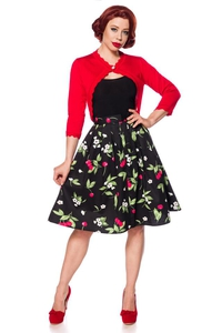 Cherry Blossom Retro Swing Skirt - Black-Pink-Green